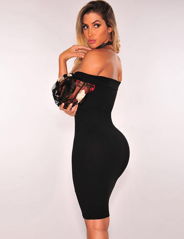 Black Off-Shoulder Embroidery Bodycon Dress - VS FASHIONS