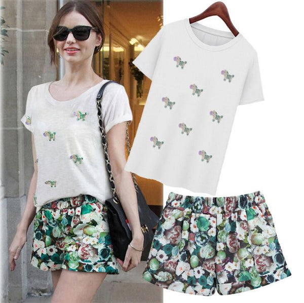 White T-Shirt with Cool Printed Shorts
