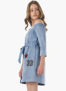 Denim Badge Off Shoulder Dress
