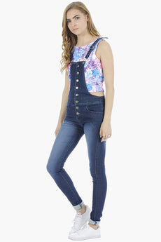 Button-Up Denim Dungarees - Dark