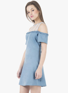 Denim Lace Shift Dress