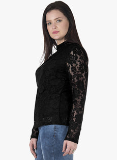 CURVE Black Lace High Neck Top