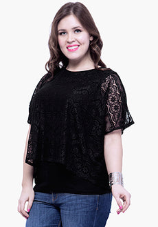 CURVE Lace Overlay Blouse - Black