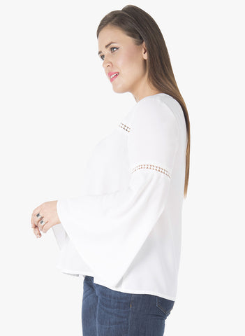 CURVE Lace Insert Bell Sleeve Blouse - White - VS FASHIONS