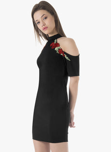 Cold Shoulder Embroidered Halter Dress - Black