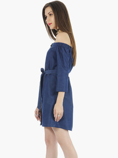 Bardot Chambray Shirt Dress - Dark Wash