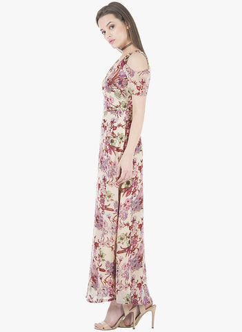 Floral Fix Cold Shoulder Maxi Dress - VS FASHIONS