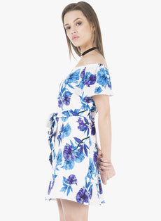 Belted Off Shoulder Dress - Blue Floral