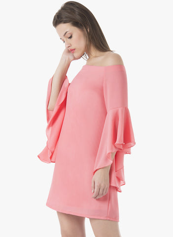 Flutter Sleeve Dress - Pink