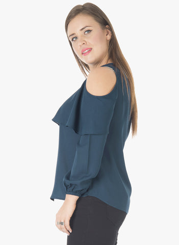 CURVE Layered Cold Shoulder Top - Teal - VS FASHIONS