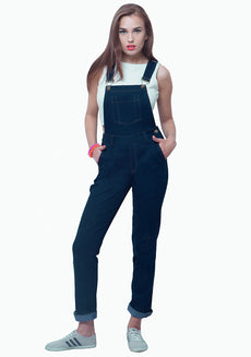 FABALLEY Denim Dungarees - Dark Blue