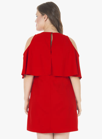 CURVE Ruffled Up A-Line Dress - Red - VS FASHIONS