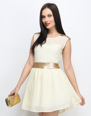 Pop That Gold Skater Dress - Cream - VS FASHIONS