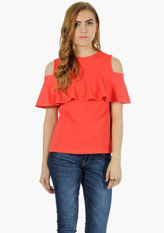 FABALLEY Ruffled Cold Shoulder Top - Coral