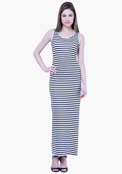 FABALLEY BASICS Striped Maxi Dress - Navy