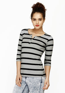 FABALLEY Grey Striped Henley Tee