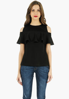 FABALLEY Ruffled Cold Shoulder Top - Black