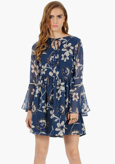 FABALLEY Bell Sleeves Skater Dress - Teal Floral