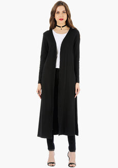 FABALLEY Longline Drape Shrug - Black