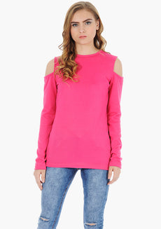 FABALLEY Cold Shoulder Sweater - Fuchsia