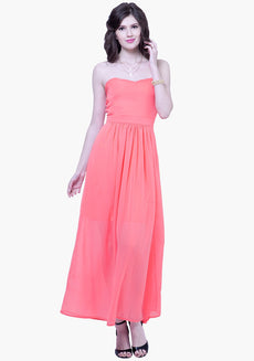 FABALLEY Strapless Maxi Dress - Coral