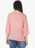 CURVE Pleated Neck Cold Shoulder Top - Pink - VS FASHIONS