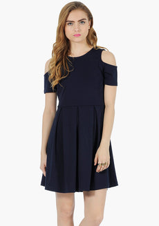 FABALLEY Navy Cold Shoulder Skater Dress