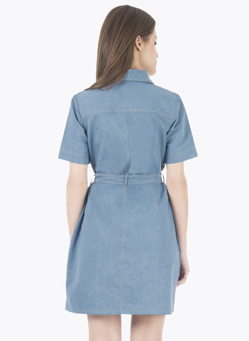 Belted Denim Shirt Dress - Light Wash - VS FASHIONS
