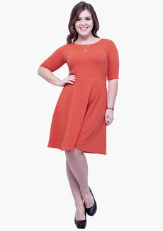 CURVE Go Glam Skater Dress - Coral