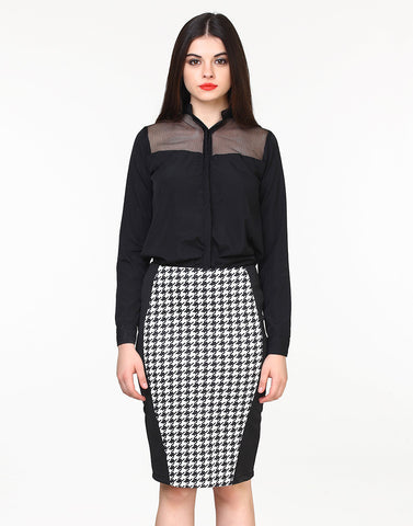 Side Kick Pencil Skirt - Houndstooth - VS FASHIONS