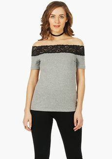 FABALLEY Off Shoulder lace Tee Top - Grey