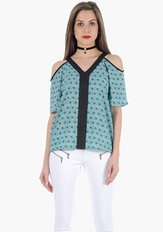 FABALLEY Abstract Cold Shoulder Top