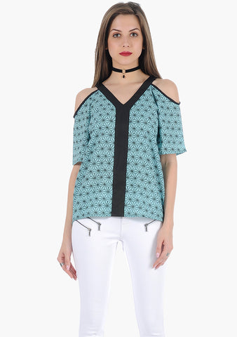FABALLEY Abstract Cold Shoulder Top - VS FASHIONS