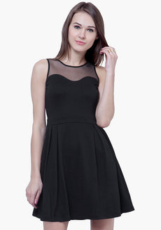 Mesh Maze Skater Dress - Black
