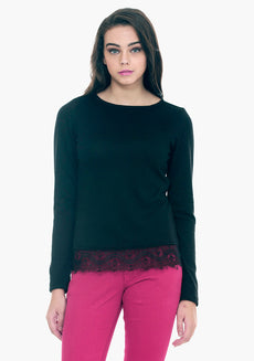FABALLEY Lace Hem Sweater - Black