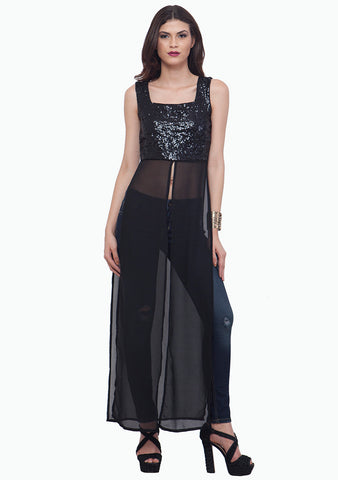 Black Sequin Maxi Top - VS FASHIONS