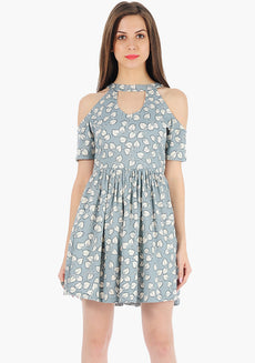 FABALLEY Cold-Shoulder Skater Dress - Ivy