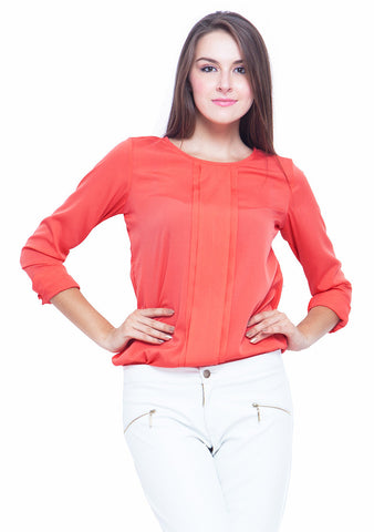 Pleat Please Blouse - Coral - VS FASHIONS