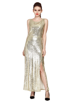Disco Ball Maxi Dress - Champagne