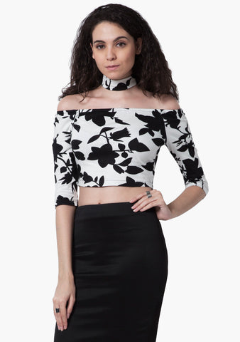 FABALLEY Off-Shoulder Choker Crop Top - Dark Floral - VS FASHIONS