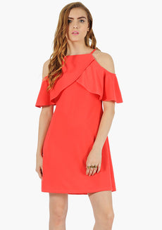FABALLEY Ruffle Sleeve Cold Sh. Dress- Coral