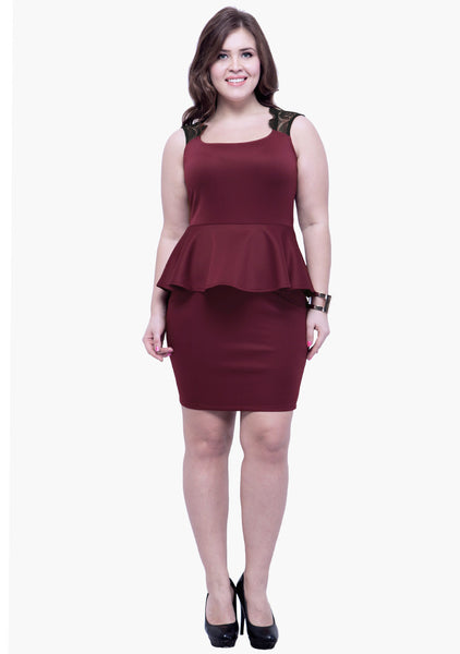 CURVE Lacy Back Peplum Dress - Oxblood