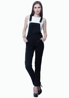 FABALLEY Denim Dungarees - Black
