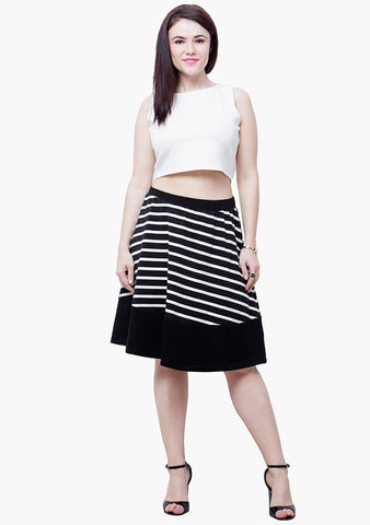 CURVE Stripe Tune Midi Skater Skirt - VS FASHIONS