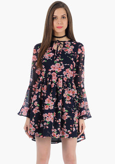 FABALLEY Bell Sleeves Skater Dress - Navy Floral