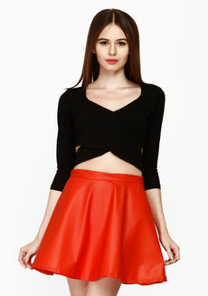 Cut Away Crop Top - Black