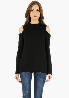 FABALLEY Cold Shoulder Sweatshirt - Black