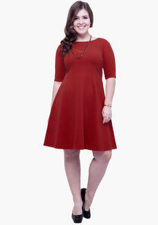 CURVE Go Glam Skater Dress - Red