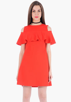 FABALLEY Ruffle Cold Shoulder  Fit And Flare Dress- Read Poly Lycra