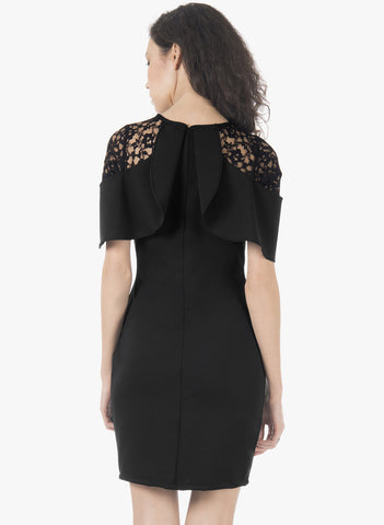 Lace Sleeve Bodycon Dress - Black - VS FASHIONS